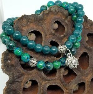 Jewelry - Azurite/Malachite Chakra Elephant Charm Bracelets